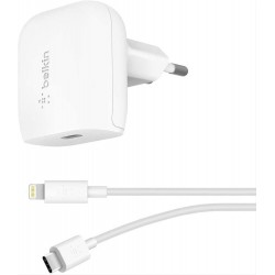 CARGADOR PARED USB-C BELKIN 20W PD CHARGER + CABLE USB-C a Lightning